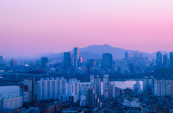 purple city skyline